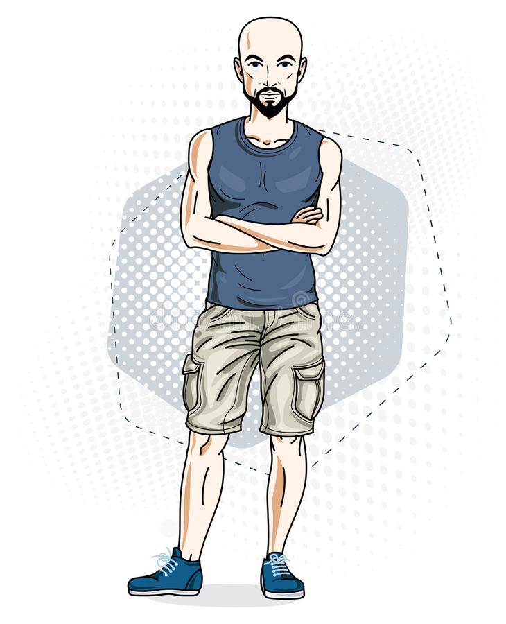 Confident athletic handsome hairless young man standing. Vector. Illustration of male wearing casual clothes, jeans shorts and singlet stock illustration