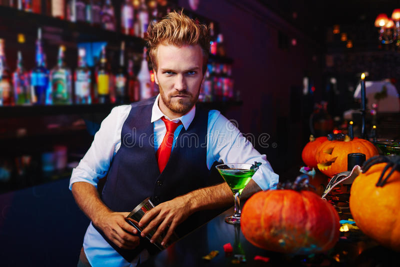 Confident bartender royalty free stock photos