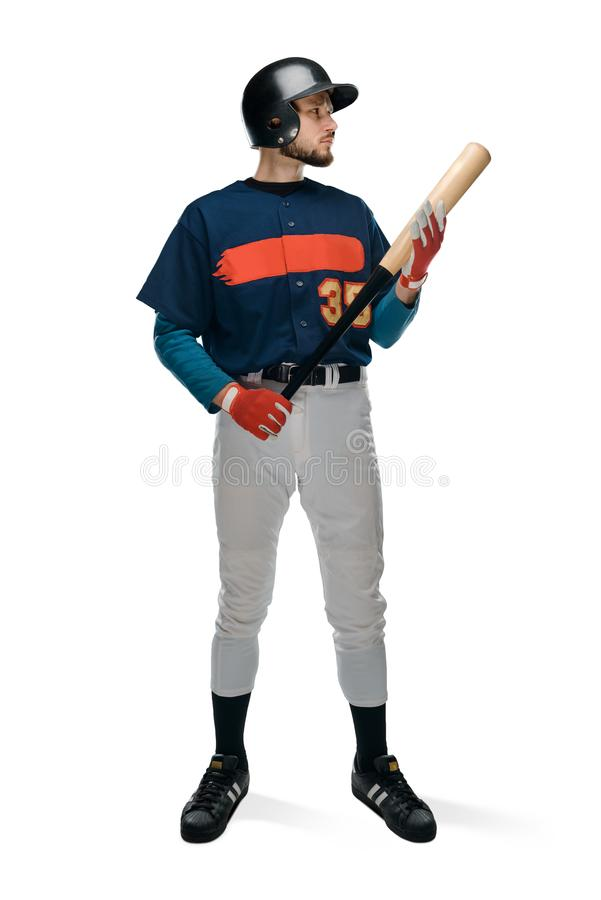 Confident baseball player on white stock images