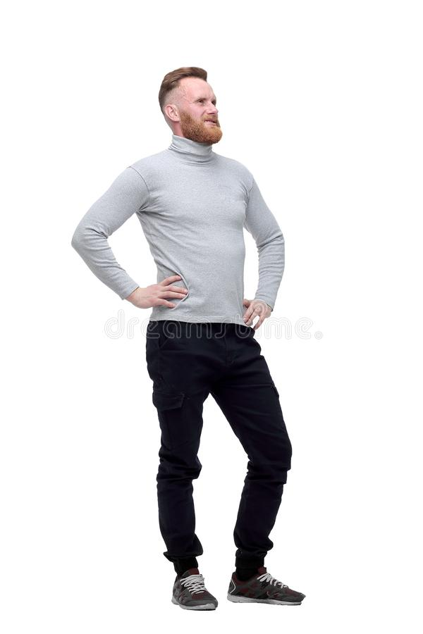 Confident bearded man . isolated on white background. stock photo
