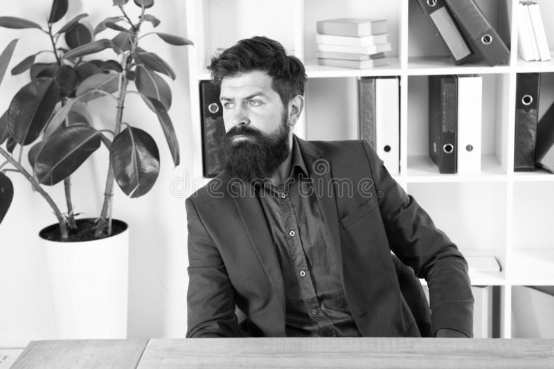 Confident brutal man director. Businessman in formal suit. Man. Bearded man. Mature hipster with beard. Male fashion in. Business office. Business director stock images