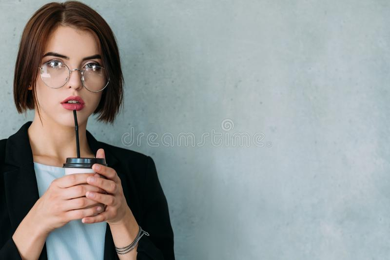 Confident business lady corporate team leader. Successful career. Confident business lady. Corporate team leader. Portrait of attractive woman standing with royalty free stock photos