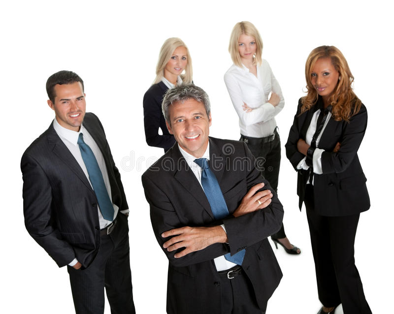 Download Confident Business Leader With His Team Stock Photo - Image of multiethnic, male: 22287452