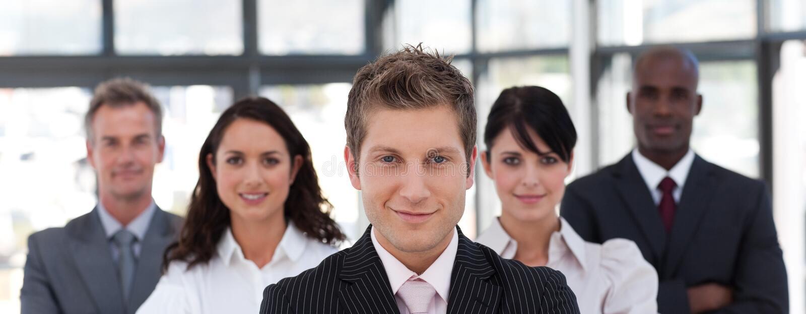 Confident business leader smiling royalty free stock images
