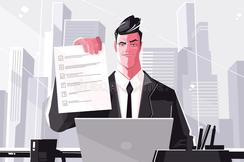 Confident business man with checklist royalty free illustration