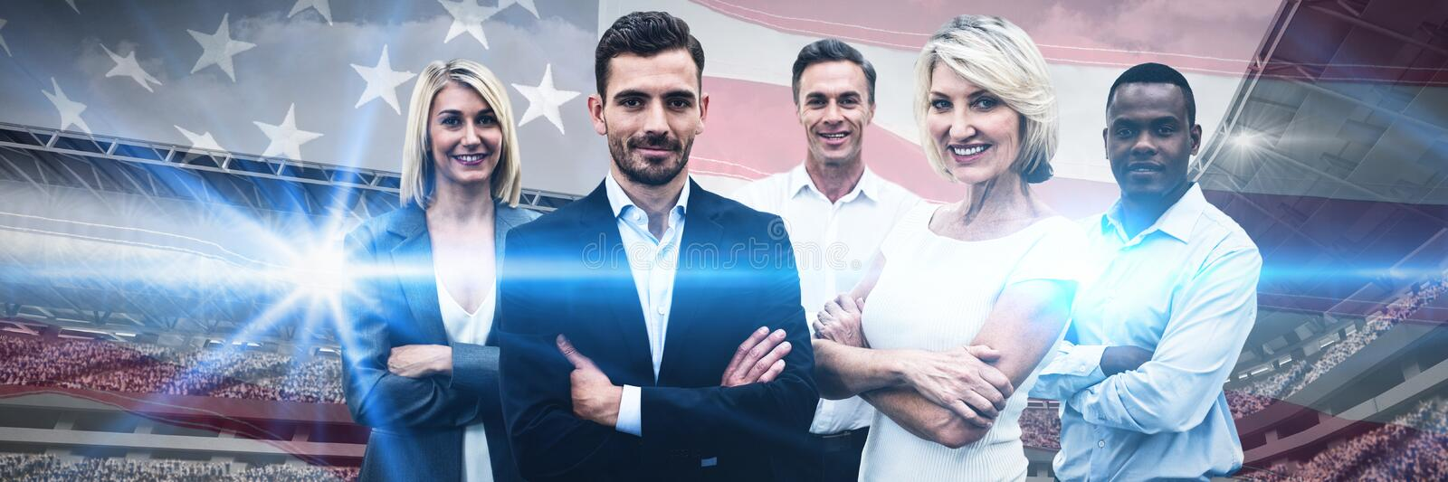 Composite image of confident business people with arms crossed standing over white background royalty free stock images