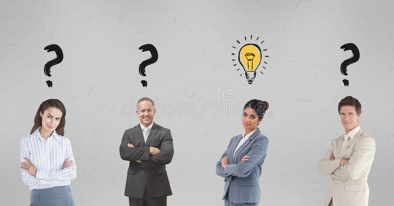 Confident business people with graphics over head royalty free illustration