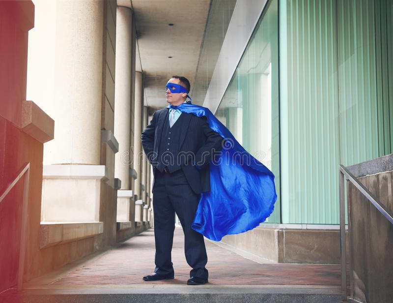Confident Business Super Man Standing in City royalty free stock photo