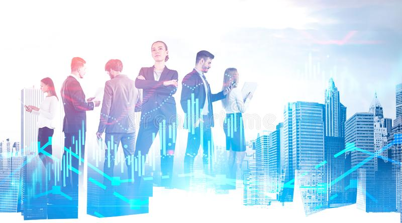 Confident business team in city, forex graphs royalty free stock images