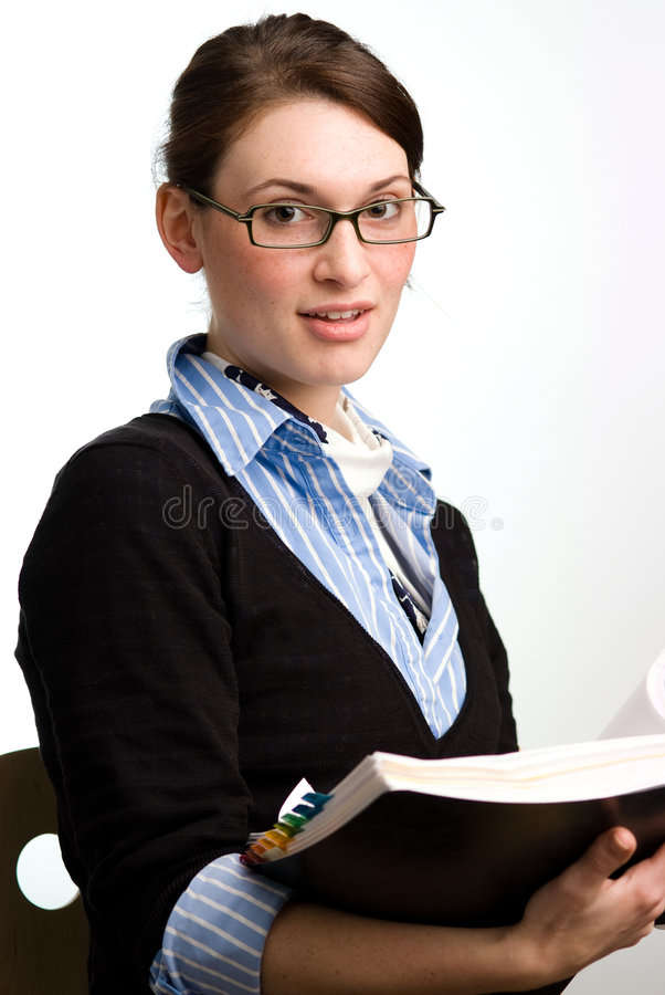Confident business woman or accountant reading royalty free stock photos