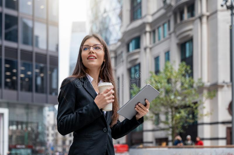 Business woman in the City of London royalty free stock photos
