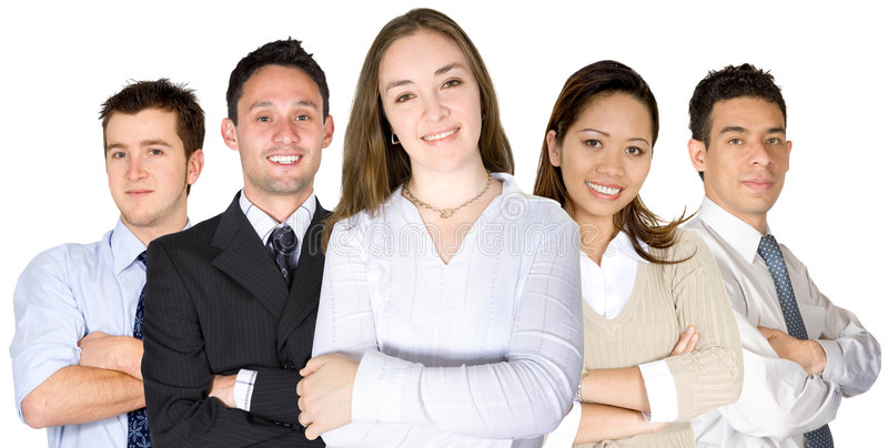 Download Confident Business Woman And Her Team Stock Photo - Image: 1883684