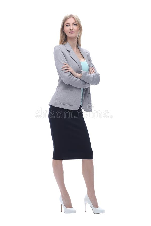 Confident business woman. isolated on grey background royalty free stock photos