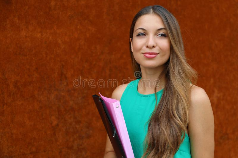 Confident business woman looking forward outdoor on rush background. Copy space stock photos
