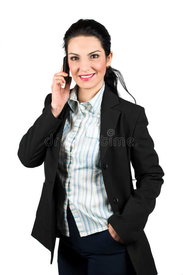 Download Confident Business Woman With Mobile Phone Stock Image - Image of girl, hair: 8938687