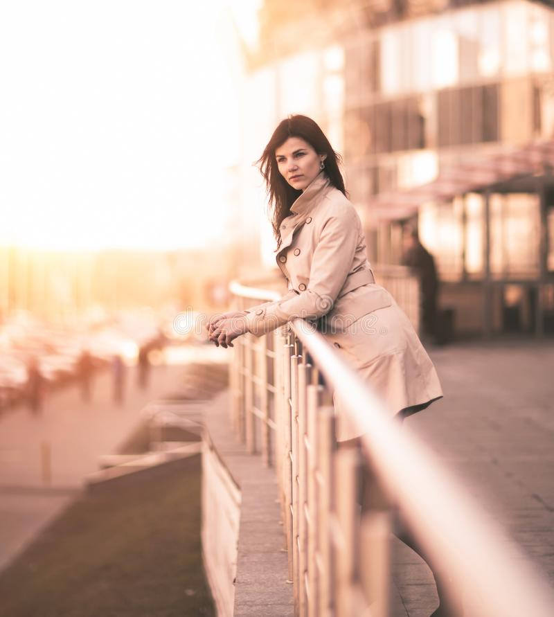 Confident business woman on a modern office building background royalty free stock images