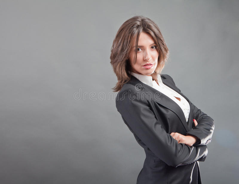 Confident business woman. Portrait of a confident, attractive business woman royalty free stock image