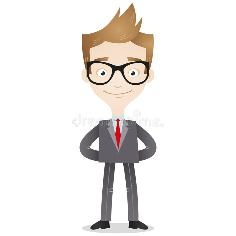 Confident businessman with arms behind back vector illustration