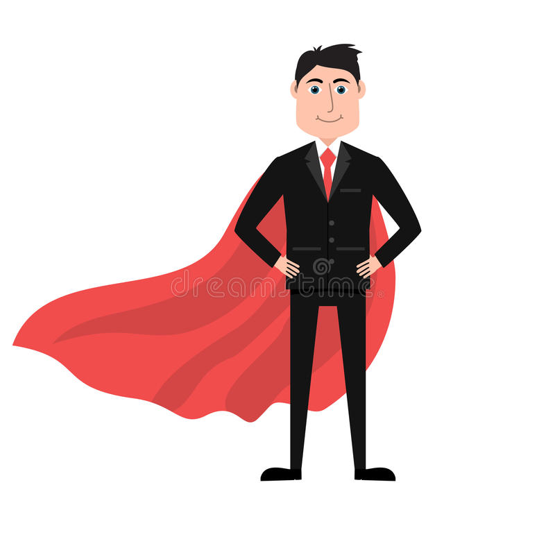 Confident businessman in black suit and red cape stock illustration