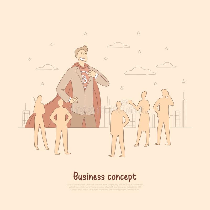 Confident businessman, brave superhero in suit with cape, team manager, leader, business activity banner vector illustration