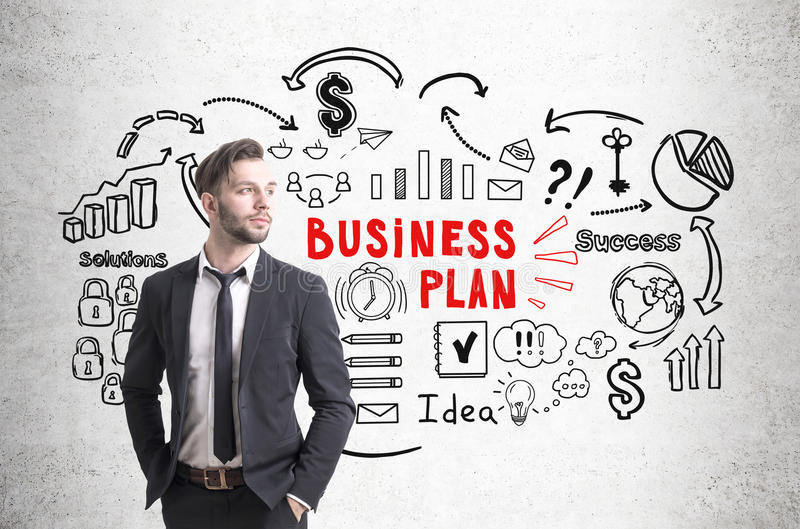 Download Confident Businessman And Business Plan Icons Stock Image - Image: 83722831