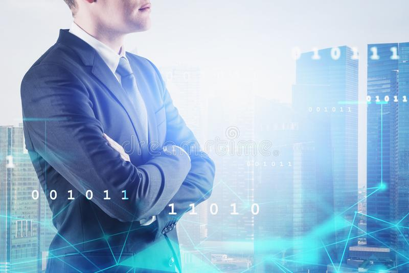 Confident businessman in city, network interface royalty free stock photography