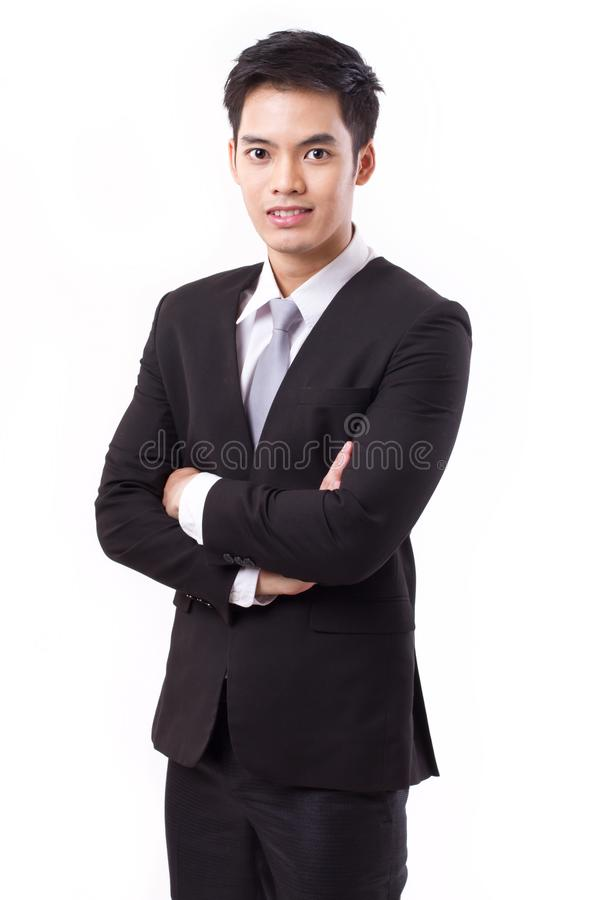 Confident businessman crossing his arms royalty free stock photo