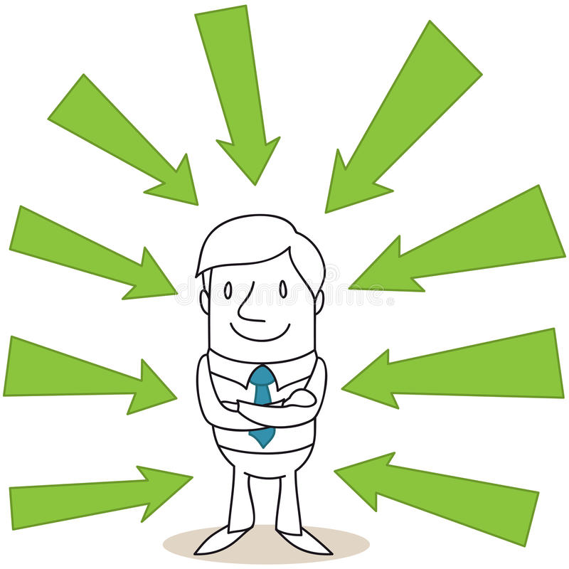 Confident businessman with green arrows. Vector illustration of a monochrome cartoon character: confident businessman with crossed arms surrounded by green vector illustration