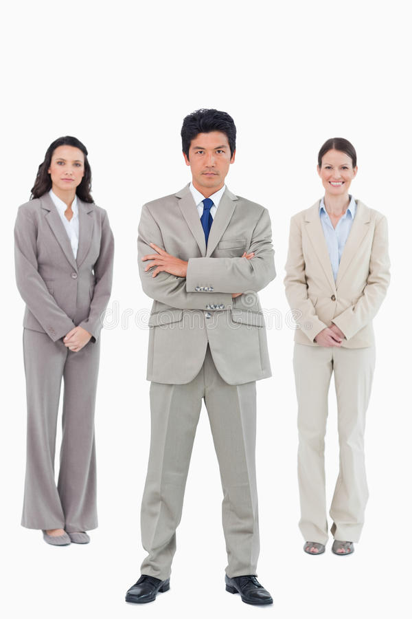 Download Confident Businessman With His Team Behind Him Royalty Free Stock Images - Image: 22861729