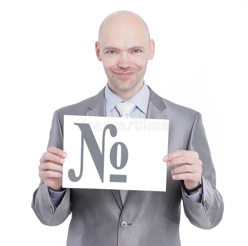Confident businessman holding a banner with the sign of the num royalty free stock photography