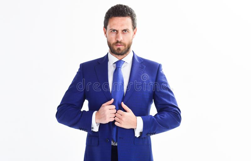 Confident businessman isolated on white background. Bearded businessman in formal suit. Successful businessman get ready stock photo