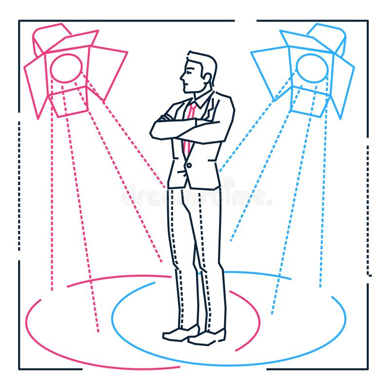 Confident businessman - line design style illustration on white background. Metaphorical image of a man standing under border lights, being the center of royalty free illustration