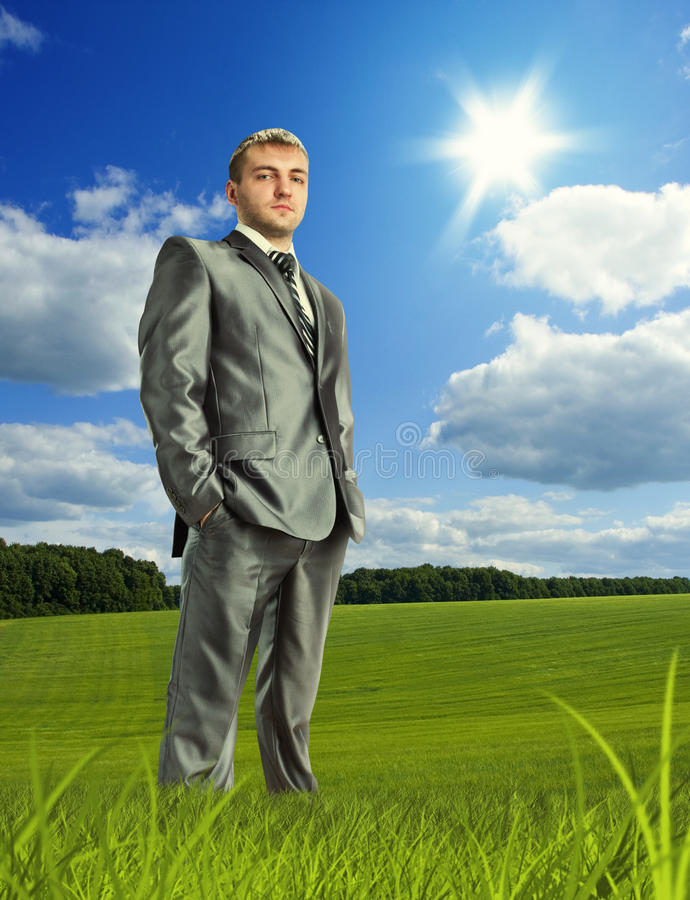Download Confident Businessman On Meadow Stock Photo - Image: 28324926