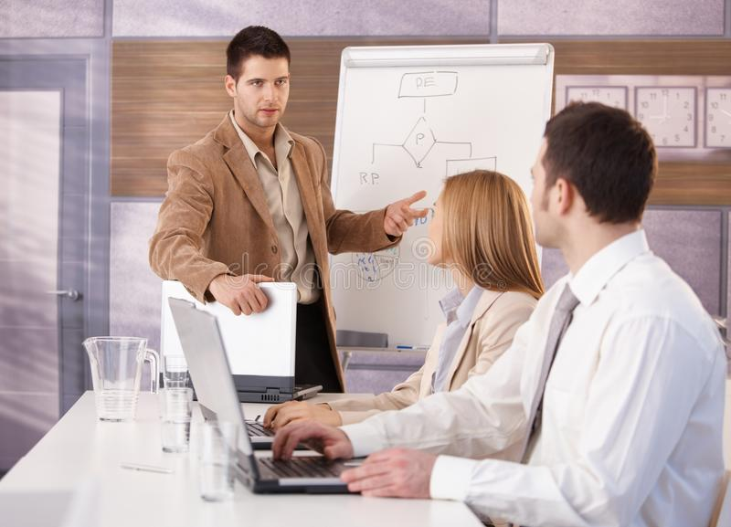 Confident businessman presenting to colleagues royalty free stock photos