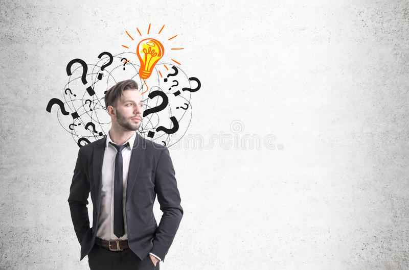 Download Confident Businessman And Questions, Light Bulb Stock Image - Image: 83722683