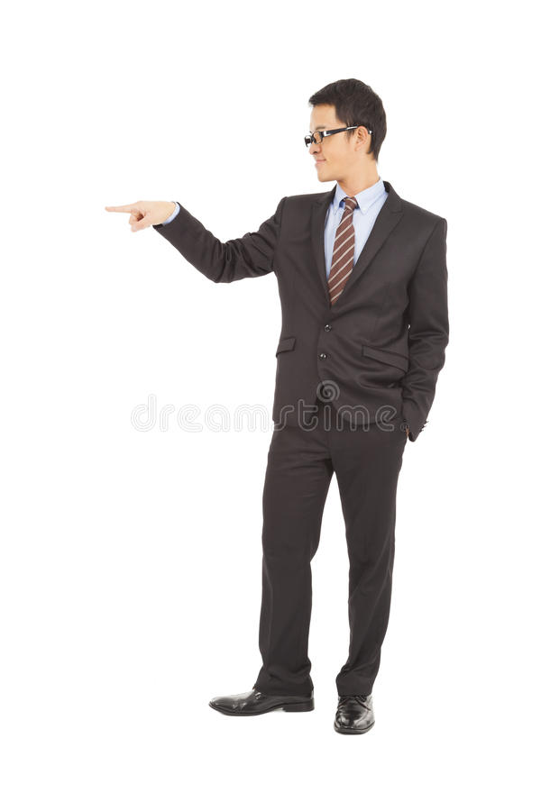 Download Confident Businessman Raise Hand To Point Stock Photo - Image of mature, male: 38786994