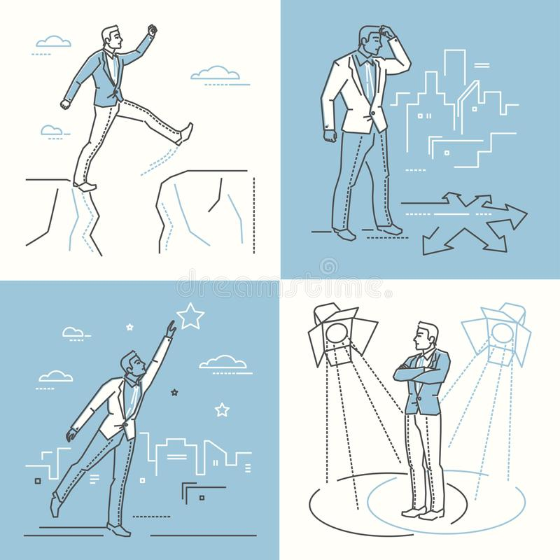 Confident businessman - set of line design style illustrations. On white and blue background. A businessman in different situations. Problem solving, decision royalty free illustration