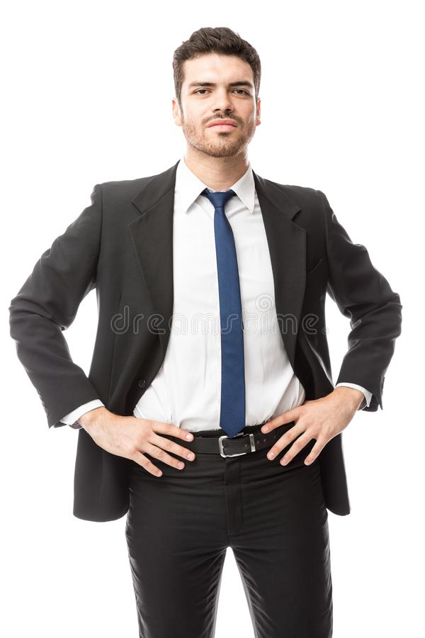 Confident businessman in a studio royalty free stock images