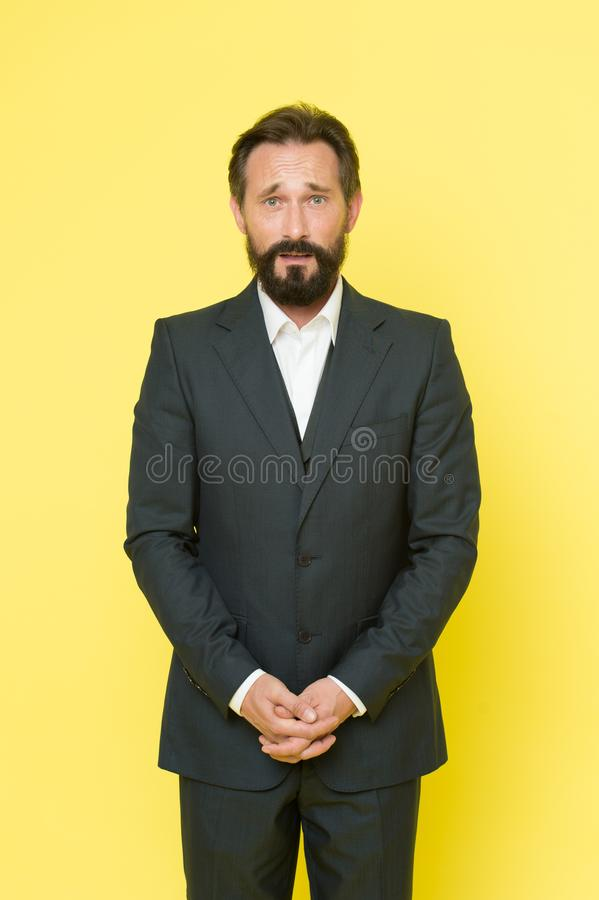 Confident businessman in suit. Business fashion and dress code. Businessman. Bearded man. Male formal fashion. Brutal stock photo