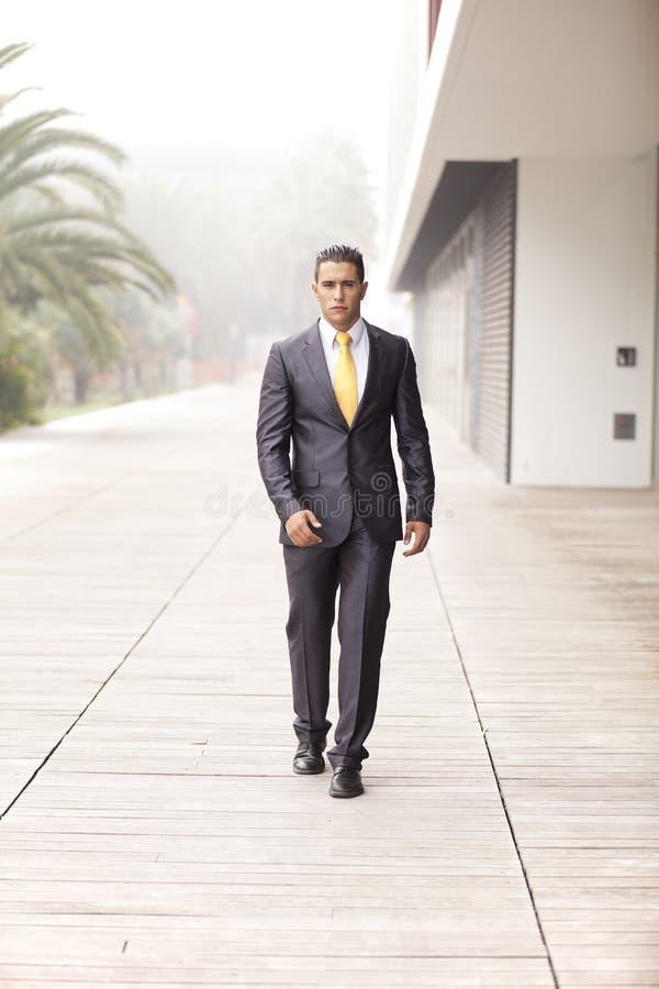 Confident businessman walking royalty free stock photos
