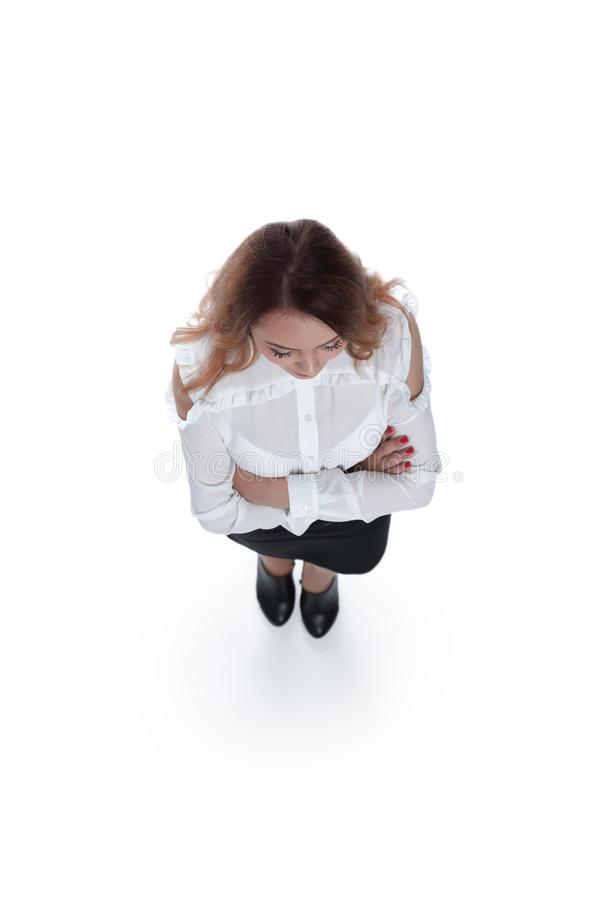 Confident businesswoman with folded arms. stock photography