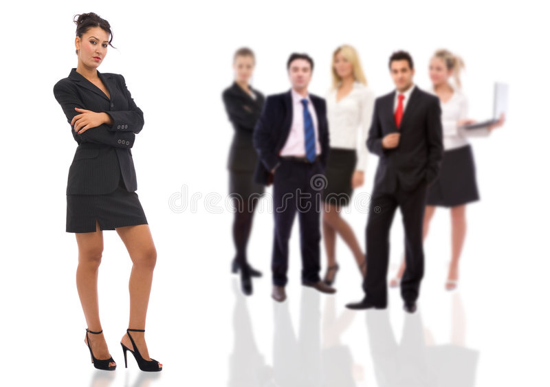Confident businesswoman and her team. Business teamwork concept with businesswoman and business people royalty free stock photo