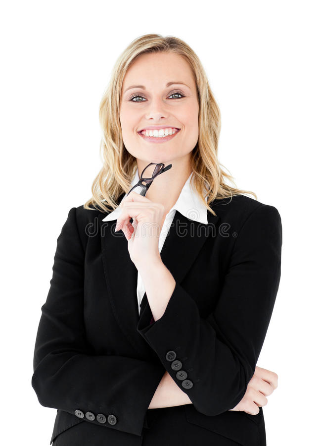 Confident businesswoman holding glasses smiling. At the camera against white background stock photos