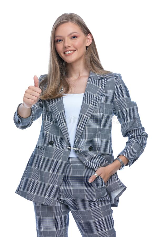 Free Confident Businesswoman Making Thumbs Up Gesture Stock Photography - 197440082