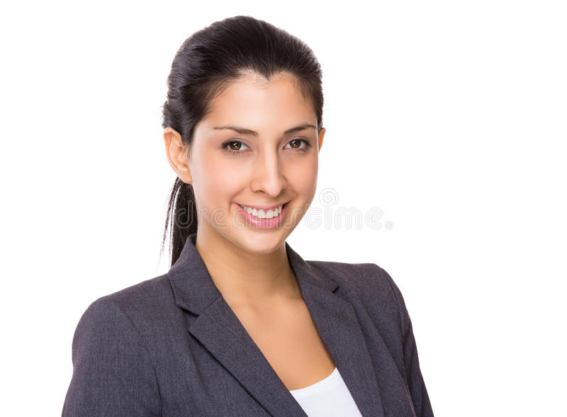 Confident businesswoman portrait. Isolated on white background royalty free stock images