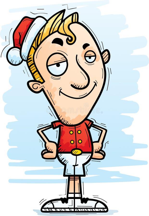Confident Cartoon Xmas Elf. A cartoon illustration of a Christmas elf looking confident stock illustration