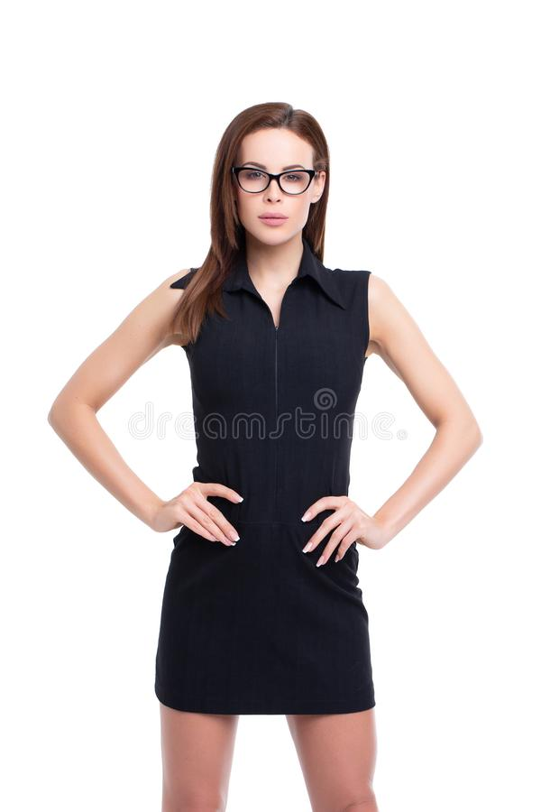 Confident caucasian businesswoman posing isolated on white royalty free stock photography