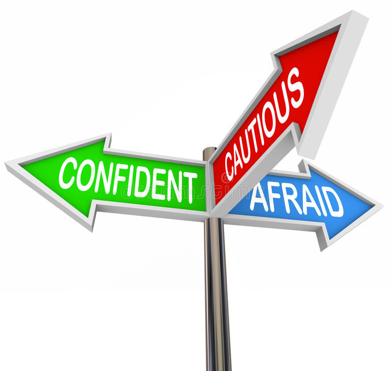 Confident Cautious Afraid 3 Three Way Signs. Confident, Cautious and Afraid words on three way road or street sign arrows to illustrate positive or negative royalty free illustration