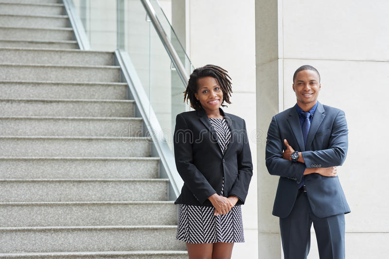 Confident cheerful business people stock photo