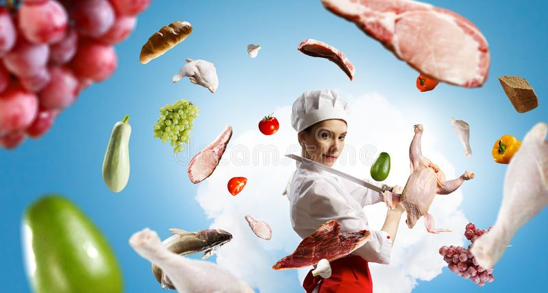 He is crazy about cooking. Mixed media stock photo